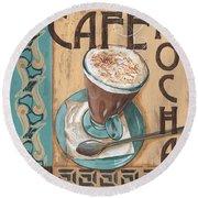 Cafe Nouveau 1 Round Beach Towel by Debbie DeWitt