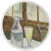 Cafe Table With Absinth Round Beach Towel