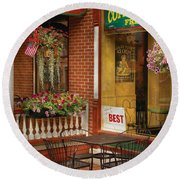 Cafe - The Best Ice Cream In Lancaster Round Beach Towel by Mike Savad