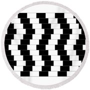 Cafe Wall Illusion Round Beach Towel