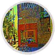 Cafe Window Corner Rue Fabre Near The Bicycle Stand Art Of Montreal Summer Street Scene  Round Beach Towel