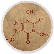 Caffeine Molecule Coffee Fanatic Humor Art Poster Round Beach Towel