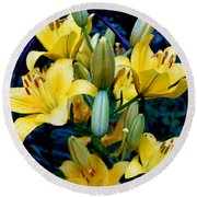 Caged Lilies Round Beach Towel