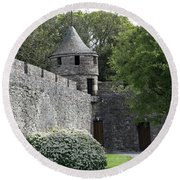 Cahir Castle Wall And Tower Round Beach Towel