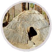 Cahuilla Indian Dwelling In Andreas Canyon In Indian Canyons-ca Round Beach Towel