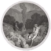 Cain And Abel Offering Their Sacrifices Round Beach Towel by Gustave Dore