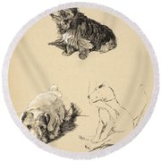 Cairn, Sealyham And Bull Terrier, 1930 Round Beach Towel