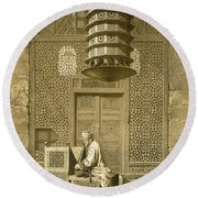 Cairo Funerary Or Sepuchral Mosque Round Beach Towel by Emile Prisse d'Avennes