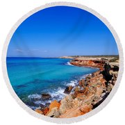 Cala Saona On Formentera Round Beach Towel