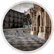 Calahorra Cathedral And Palace Round Beach Towel