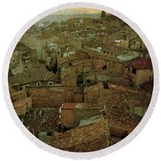 Calahorra Roofs From The Bell Tower Of Saint Andrew Church Round Beach Towel
