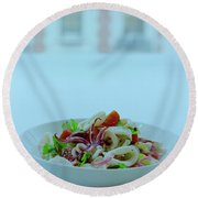 Calamari Salad Round Beach Towel