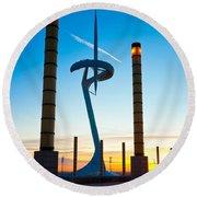 Calatrava Tower - Barcelona Round Beach Towel