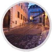 Calcada Da Gloria Street At Dusk In Lisbon Round Beach Towel