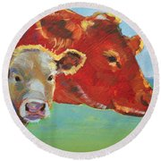 Calf And Cow Painting Round Beach Towel