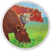 Calf And Cows Painting Round Beach Towel