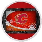 Calgary Flames Christmas Round Beach Towel
