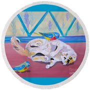 Calico And Friends Round Beach Towel