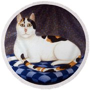 Calico Cat Portrait Round Beach Towel