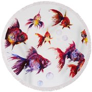 Calico Ryukin Goldfish Round Beach Towel