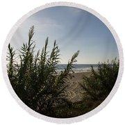 California Carlsbad Beach Hidden View Round Beach Towel