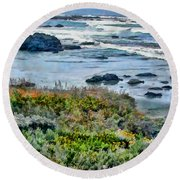 California Central Coast Near San Simeon Round Beach Towel