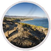 California Coastline From Point Dume Round Beach Towel