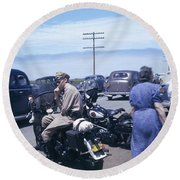 California Highway Patrol Harley Davidson Circa 1948 Round Beach Towel