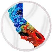 California - Map Counties By Sharon Cummings Round Beach Towel