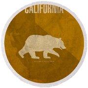 California State Facts Minimalist Movie Poster Art  Round Beach Towel