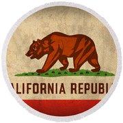 California State Flag Art On Worn Canvas Round Beach Towel by Design Turnpike