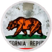 California State Flag Weathered And Worn Round Beach Towel