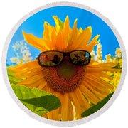 California Sunflower Round Beach Towel by Bill Gallagher
