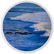 California Pismo Beach Waves Round Beach Towel