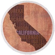 California Word Art State Map On Canvas Round Beach Towel
