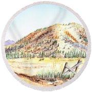Californian Landscape Saint John Ranch Bald Mountain View Shasta County Round Beach Towel