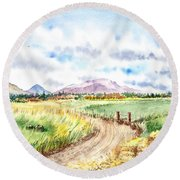 Californian Landscape Saint Johns Ranch Of Mountain Shasta County Round Beach Towel