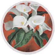 Calla Lilies On A Red Background Round Beach Towel