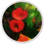 Calla Lilies Photo Art 03 Round Beach Towel by Thomas Woolworth