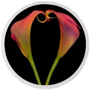 Calla Lillies Kissing Round Beach Towel