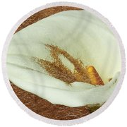 Calla Lily Gold Leaf Round Beach Towel