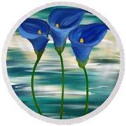 Calla Trio- Calla Lily Paintings Round Beach Towel