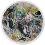 Calligraphy Abstract 03 Round Beach Towel