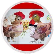 Calling All Chicken Lovers Say I Do Round Beach Towel