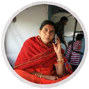 Calling From The Train Round Beach Towel