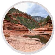 Calm Day At Slide Rock Round Beach Towel
