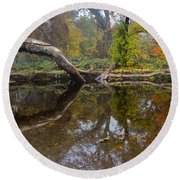 Calm On Big Chico Creek Round Beach Towel