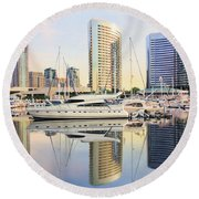 Calm Summer Morning Round Beach Towel