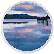 Calm Twin Lakes At Sunset Yukon Territory Canada Round Beach Towel