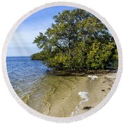 Calm Waters On The Gulf Round Beach Towel